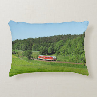 Tramcar with meadow field decorative pillow
