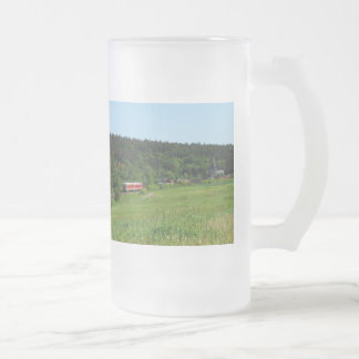 Tramcar with meadow field frosted glass beer mug