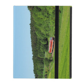 Tramcar with meadow field iPad folio case