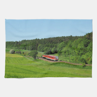 Tramcar with meadow field kitchen towel