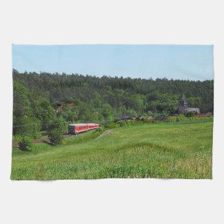 Tramcar with meadow field kitchen towel