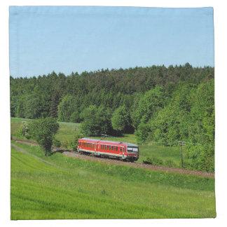 Tramcar with meadow field napkin