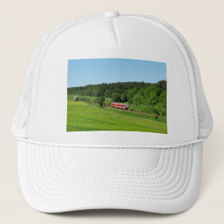 Tramcar with meadow field trucker hat