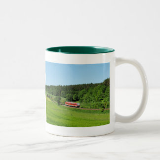 Tramcar with meadow field Two-Tone coffee mug