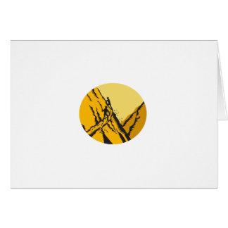 Trampers Climbing Steep Path Mountain Oval Woodcut Card