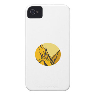 Trampers Climbing Steep Path Mountain Oval Woodcut Case-Mate iPhone 4 Cases