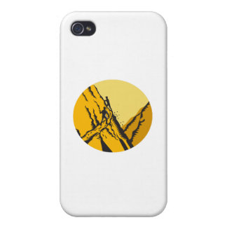 Trampers Climbing Steep Path Mountain Oval Woodcut Covers For iPhone 4