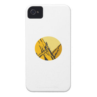Trampers Climbing Steep Path Mountain Oval Woodcut iPhone 4 Case-Mate Cases