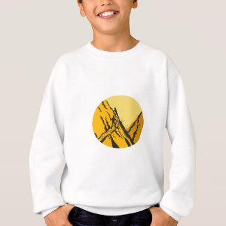Trampers Climbing Steep Path Mountain Oval Woodcut Sweatshirt
