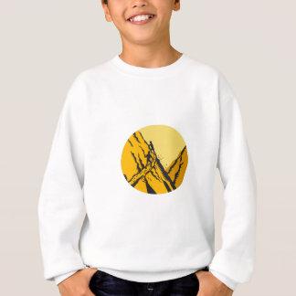 Trampers Climbing Steep Path Mountain Oval Woodcut Sweatshirt