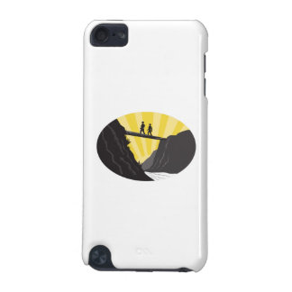 Trampers Log Bridge Ravine River Oval Woodcut iPod Touch 5G Case