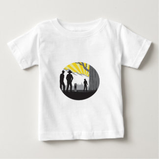 Trampers Mile Marker Giant Tree Oval Woodcut Baby T-Shirt