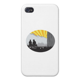 Trampers Sitting Looking Up Mountain Oval Woodcut iPhone 4/4S Covers