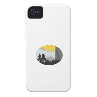 Trampers Sitting Looking Up Mountain Oval Woodcut iPhone 4 Case