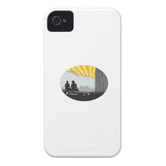 Trampers Sitting Looking Up Mountain Oval Woodcut iPhone 4 Case-Mate Case