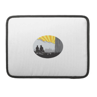 Trampers Sitting Looking Up Mountain Oval Woodcut Sleeve For MacBooks