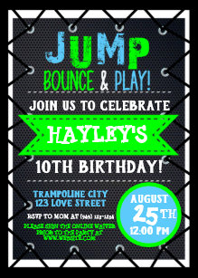Trampoline Park Bounce Party Neon Colors Summer Card