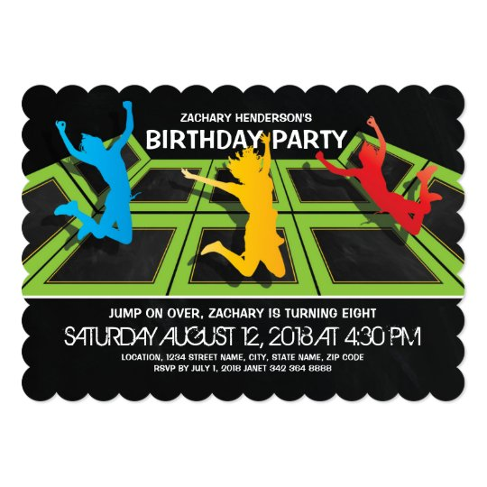 TRAMPOLINE PARK KIDS BIRTHDAY PARTY CARD