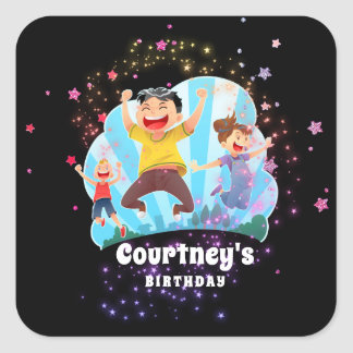 Trampoline Party Kids Jump Birthday Favor Square Sticker