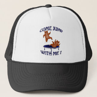 trampolining bears come jump trucker hat