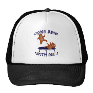 trampolining bears come jump trucker hat