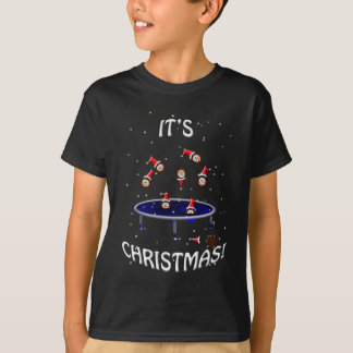 trampolining christmas hedgehogs having fun T-Shirt