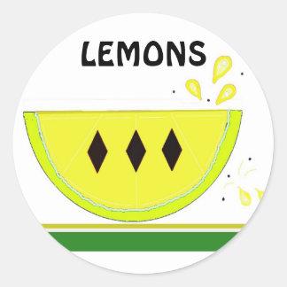 Tranche de citron autocollant rond