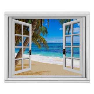 Tranquil Beach Ocean Fake Window View Poster