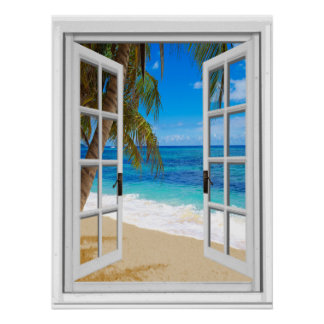 Tranquil Beach Ocean View Fake Window Poster