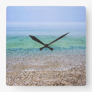 Tranquil Beach Square Wall Clock