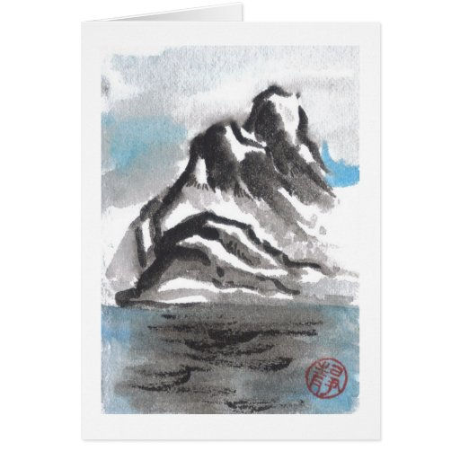 Tranquil Blue Mountain Landscape Blank Card