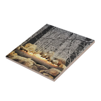 Tranquil Burning Yule Log in a Snowy Forest Ceramic Tile