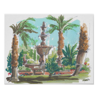 Tranquil Fountain Poster