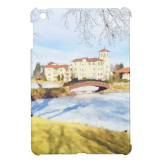 Tranquil hotel scene on lake case for the iPad mini