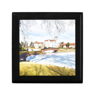 Tranquil hotel scene on lake gift boxes