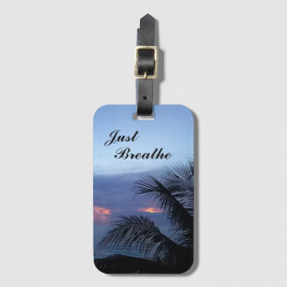 Tranquil Palm Tree Ocean Dusky Blue Sunrise Luggage Tag