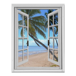 Tranquil Palms and Ocean Artificial Window View Poster