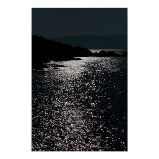 tranquil rocky kerry night view poster
