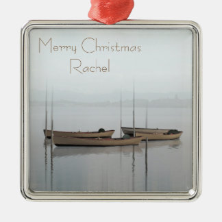 Tranquil scene boats in a still bay metal ornament