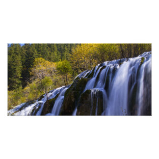 tranquil scene of waterfall photo card