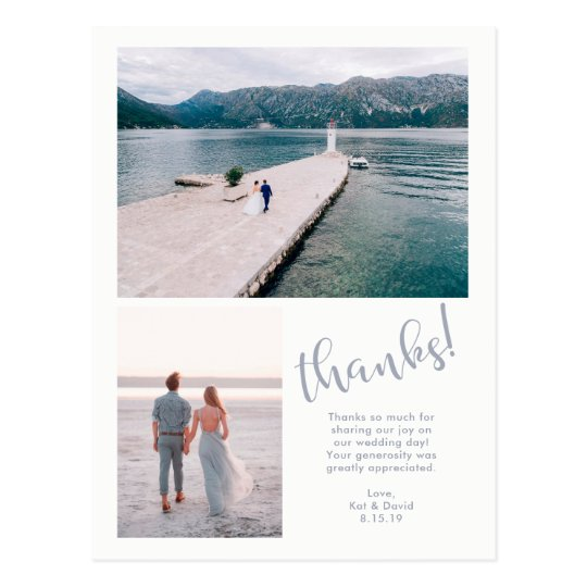 Tranquil Seas | Two Photo Wedding Thank You Postcard