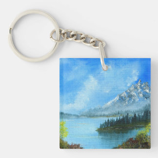 Tranquil Shores Double-Sided Square Acrylic Keychain
