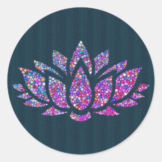 Tranquil Teal & Rainbow Lotus Flower Sticker