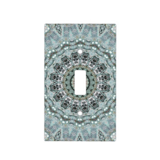 Tranquil Turquoise and Gray Mandala Art Designer Light Switch Cover
