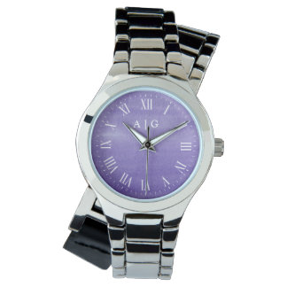Tranquil Watercolor Purple Custom Initials Watches