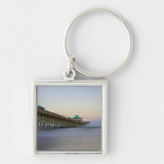 Tranquility At Folly Silver-Colored Square Keychain