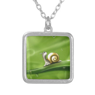 Tranquility Droplets Green Cute Snail Silver Plated Necklace