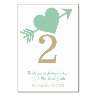 Tranquility Mint Green Heart Modern Wedding Table Card