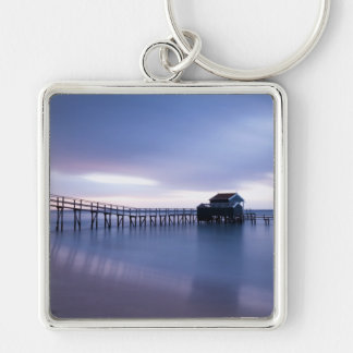 Tranquility Silver-Colored Square Keychain