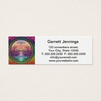 Tranquility Tree of Life in Rainbow Colors Mini Business Card